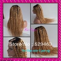 8 blonde Wig,Half Wig Wholesale price ombre #1b #27 Kinky Curly two tone U part wig Malaysian virgin human hair Freeshipping