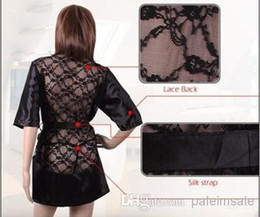 Wholesale Sexy lingerie sexy lace black rose gown at home perspective bathrobes sauna bathrobe