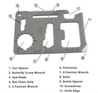 Cheap 120PCS Camping Survival Knife Pocket saber Card Outdoor 11 functions in 1 Multifunction Tool Creative Opener Larger Size 30g DHL Post Free