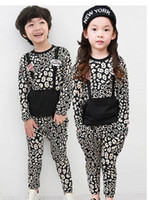 Wholesale 2014 New Spring Korean Style Girls Boys Fashion Long Sleeve T shirt Pants Pieces Casual Set Baby Kids Clothing Outfits Sets C0541