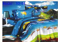 Adult Plain Polyester / Cotton Cotton Bedding 3D Bedding Set 4 Pcs Oil Printed Seabeach Bedcover Bedsheet Sets Bedclothes Duvet Cover PillowCase Bed Linen DHL