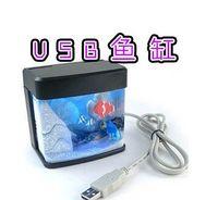 Wholesale Cheap And High quality USB Mini Aquarium USB MINI Fish Tank with Colorful Light