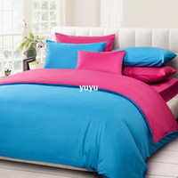 Wholesale Youthful color Solid color comforter bedding set king size rose red and blue duvet cover set bedclothes bed in a bag CS