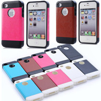 Wholesale Retail Package TPU Cover With Leather Skin Cases For iphone4 iphone4S iphone S Waterproof Shock Proof Bumper Back Case