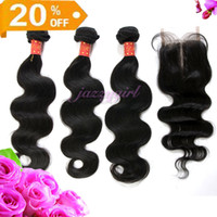 "Brazilian Hair Natural Color Body Wave 20% OFF!Brazilian Virgin Hair,4 Bundles lot,3 pcs Hair Weft And 1pc Lace Closure Middle Part 3.5""x4"" Natural Color Body Wave Free Shipping"