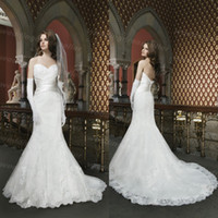 Wholesale Elegant New Arrival Full Lace White Wedding Dresses Mermaid Sweep Train Appliques Wedding Bridal Gowns Custom Made