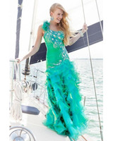 Cheap 2014 New Sexy One Shoulder Prom Dresses Sequins Beaded Side Slit Organza Peacock Mermaid Evening Gowns 9333