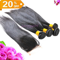 "Peruvian Hair Natural Color Straight 20% OFF! Free Shipping!Peruvian Human Hair,3 pcs Hair Weft And 1pc Lace Closure 3.5""x4"" 4pcs lot Straight Free Part Natural Color Queen Hair"