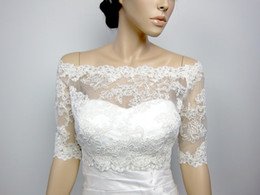 Wholesale 2014 New Off Shoulder Alencon Lace bolero jacket Bridal Bolero Wedding jacket wedding bolero bridal shrug bridal jacket