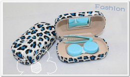 Wholesale Newest Top Leopard Fashion dozen contact lens cases in in different leopard colors Freshlook with a mirror