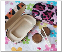Wholesale DHL Newest Top Leopard Fashion SETS contact lens cases in in different leopard colors Freshlook with a mirror