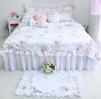 Cheap Free shipping princess bedding queen size Cotton Lace bed skirt bedspread modern print duvet covers set girls bedding BD-006