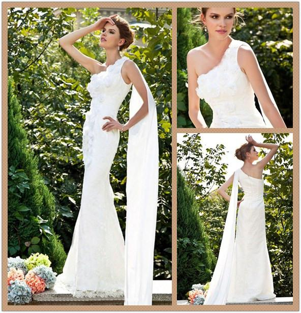 Greek goddess style lace wedding dresses with ribbon one for Greek goddess style wedding dresses