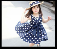 Wholesale top dress shij014 supernova sale children clothing age navy white polka dot summer dress vintage baby girls dresses