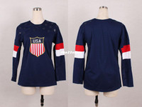 Ice Hockey Women Full 2014 USA Olympic Hockey Jersey Best Price Navy Blue Jersey National Team USA Jersey New Blank Hockey Jerseys M to XXXL Sports Jerseys