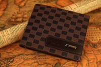 Mens Leather Check Patten Wallet Money Clip Purse (coffee br...