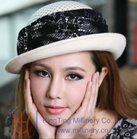 Wholesale Women s hats wool felt hat winter hat church layering paillette veil covered roof wool made bllink sequins two colors available