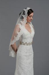 Wholesale wedding bridal lace mantilla veil x50 fingertip length alencon lace hot sale white and ivory bridal veils