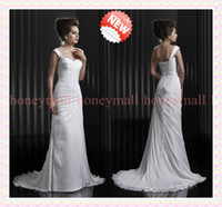 Wholesale 2014 Wedding Dresses New Custom Made Sheath One Shoulder Court Train Jewelry Cross Pleats Chiffon Bridal Gowns Glamorous B364