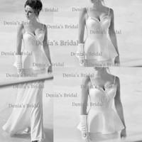 Sheath/Column Reference Images Spaghetti 2014 Elegant Sheath Spaghetti Sweetheart Neckline Detachable Floor Length Chiffon Appliqued Bridal Vestidos Wedding Dresses Dhyz 01