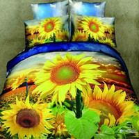 Adult Twill 100% Cotton 3D Sunflower yellow color printed 4pc bedding set queen size Duvet quilt comforter bed cover bedsheets Cotton pillowslip sets