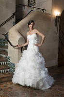 anjolique wedding gowns - 2014 A Line Beaded Sweetheart Organza Wedding Dresses Ruching Cascading Ruffles Anjolique Wedding Bridal Gowns Ball Gown Chapel Train A501