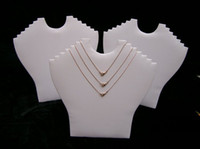 Necklace mannequin jewelry holder - Jewelry Display Holder Six Items Necklaces Display Stand Easel Rack Wrapped in White Leatherette