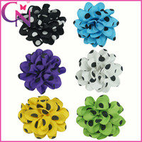 Hair Bows polyester Solid Big Polka Dot Hair Bow with Hair Clips Hair Flower For Babies 30pcs lot mix 6 colors CNHBW-1310098