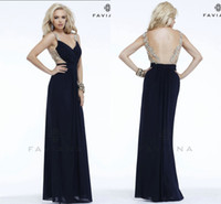 Wholesale Black Backless Sheath Evening Pageant Dresses Transparent Waist Applique Faviana Chiffon Ruching Prom Gowns Dresses Floor Length