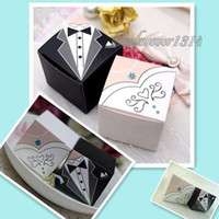 Favor Boxes White Paper 150 Pieces Bride & Groom Tuxedo Dress Decor Paper Gift Candy Favours Favor Box Boxes Wedding Party Decoration Supplies
