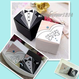 Wholesale 150 Pieces Bride amp Groom Tuxedo Dress Decor Paper Gift Candy Favours Favor Box Boxes Wedding Party Decoration Supplies