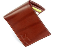 Brown Wolf Patten Soft Leather Wallet Purse Money Clip #2407...