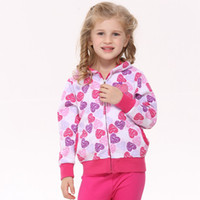 Wholesale F3331 Nova Kids autumn winter clothes m y baby girls heart shaped printing hooded hoodies leisure fleece sweatshirts girl pink jackets