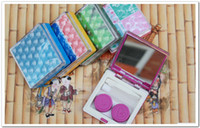 Wholesale Newest dozen cubic contact lens cases in kits transparent in colors with a mirror inset