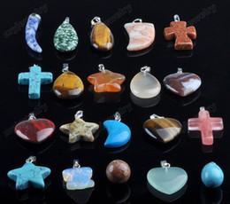 Wholesale 20X Jewelery Mixed Shape Stone Gemstone Necklace Pendant Bulks Cheap Unisex Jewelry Gift N56