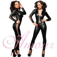 Wholesale SEXY LINGERIE NEW PVC Like Goth Punk Lace Up Costume Wetlook Catsuit Overall Bodysuit