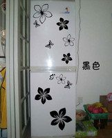 Plant Multi-piece Package flower&butterfly 2014 New Design Big size Butterfly Flower Fridge stickers Wall stickers Decorate Sticker Color mix Free shipping