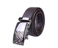 Wholesale Mens Automatic Buckle Luxury Genuine Leather Belt Strap black coffee