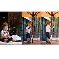 Boy Summer Short baby summer wear suits boy 5pcs sets cute suits children clothing fashion outfit belt+T-shirt+jeans+tie+hat 6sets lot good--baby
