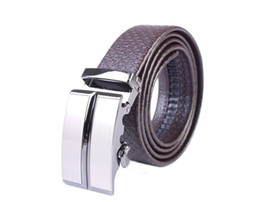 Mens Automatic Buckle Embossed Genuine Leather Belt (black coffee)