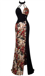 Wholesale Sexy Printing Halter Round Collar Split Long Dress S M L XL Black