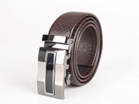 Mens Automatic Buckle Embossed Leather Belt (black coffee)