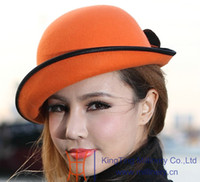 Wholesale Fashion women hat women wool felt hat millinery chapeau wool hat church deby hats up short brim two color available