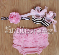 beige pants black shoes - Top quality baby s sets of three Baby Girls Lace Panties Toddle Kids Underpants PP pants Headwear shoes