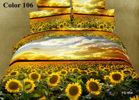 100% Cotton Printed Home Fedex Free Cotton 3D bedding sets sunflower designs home textiles romantic lily rose trumpet flower duvet cover bed sheet
