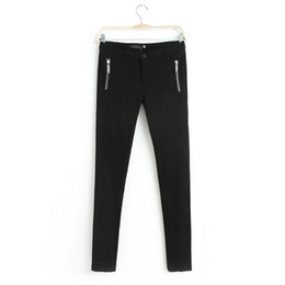 Wholesale European Style Slim Pant Double Zipper Decorated Straight Solid Color Fashion Women Colors Autumn Wear Laides Pants A918