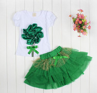 Cheap Hot sale wholesale Girls Kids Clothes 2 Pieces Set Dress big flower t-shirt + veil skirt Set for free shipping