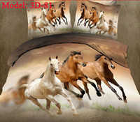 Cheap 3D Bedspreads Horse Animals Cotton Home Textile 4 Pcs Bedding Sets Bedcover Bedsheet Set Bedclothes Duvet Cover PillowCase Comforter Quilt