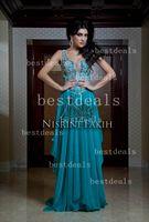 Cheap Sexy Spaghetti Straps hunter Chiffon Crystal Beaded Top Arabic Dubai Abaya Kaftan Long Evening Dresses 2014 New Arrival BO2435