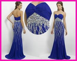 Wholesale Royal Blue Beadwork Sweetheart Long Floor Length Mermaid Girl Party Evening Dresses E4419